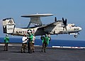 US Navy 030902-N-9871P-001 An E-2C Hawkeye assigned to the Screw Tops of Carrier Airborne Early Warning Squadron One Twenty Three (VAW-123) launches from one of four steam powered catapults aboard USS Enterprise (CVN 65).jpg