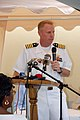 US Navy 070918-N-9486C-141 Capt. Douglas Wied, commander of Task Group 40.9, addresses workers of the Port Antonio Hospital and members of the Jamaican press during a Project Handclasp.jpg