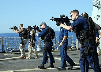 Close Quarters Battle Receiver - Members of the visit, board, search and seizure (VBSS) team practicing aboard the guided-missile destroyer USS Bulkeley (DDG 84).