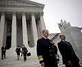 US Navy 081008-N-5549O-022 Secretary of the Navy (SECNAV) the Honorable Dr. Donald C. Winter, right, and Chief of Naval Operations (CNO) Admiral Gary Roughead depart the United States Supreme Court after giving testimony for th.jpg
