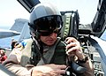 US Navy 090606-N-9988F-814 Brigadier General Harry Polumbo adjusts his seat belt before his familiarization flight.jpg