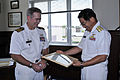 US Navy 090713-N-4031K-002 Capt. Eric Gardner, commanding officer of Naval Air Facility Atsugi, presents Rear Adm. Kazuo Takahashi with a certificate of appreciation.jpg