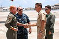 US Navy 090725-N-3887D-057 Capt. Jack Scorby, commanding officer of Naval Air Station Jacksonville, meets with Cmdr. Christopher Thomson, commanding officer of Fleet Logistics Support Squadron (VR) 62, and Master Chief Jamie Ma.jpg