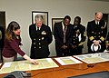 US Navy 091104-N-8273J-164 Chief of Naval Operations Adm. Gary Roughead views a selection of typed and handwritten manuscripts from Dr. Martin Luther King Jr.jpg