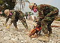 US Navy 100303-N-9643W-011 Sailors assigned to the air detachment of Naval Mobile Construction Battalion (NMCB) 7 cut rebar during a search and recovery mission at the Hotel Montana in Port-au-Prince, Haiti.jpg