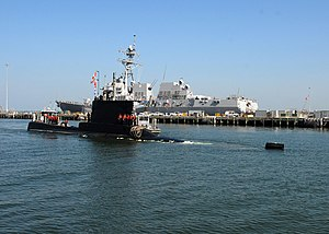 US Navy 100722-N-7705S-027 The Peruvian navy submarine BAP Angamos (SS-31) arrives at Naval Station Norfolk for a scheduled port visit