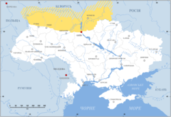 Polesia (marked in yellow) on a map of Ukraine