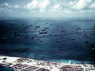 Service Squadron - With Sorlen island in the foreground, Third Fleet vessels crowd the north anchorage at Ulitih in late 1944.