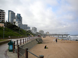 View of the skyline and beach of Umhlanga Rocks