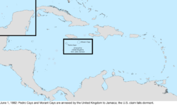Map of the change to the United States in the Caribbean Sea on June 1, 1882