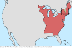 Map of the change to the international disputes involving the United States in central North America on January 15, 1777