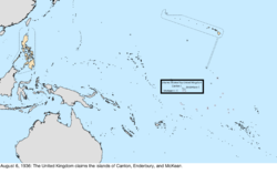 Map of the change to the United States in the Pacific Ocean on August 6, 1936