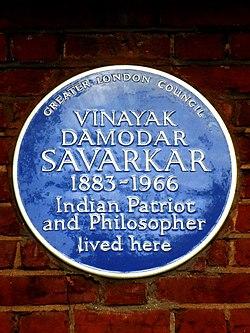 Vinayak damodar savarkar 1883 1966 indian patriot and philosopher lived here
