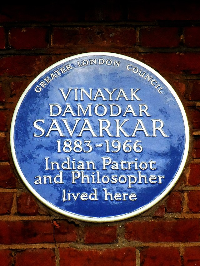 Photo of Vinayak Damodar Savarkar blue plaque