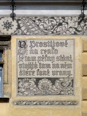 Moravian dialects - An inscription on the façade of Prostějov castle showing a poem written in Hanakian dialect