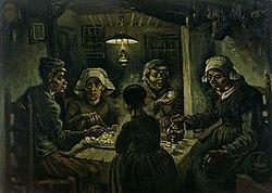 """""""Patates yiyenler"""", Nuenen, Nisan 1885, yağlı boya - kanvas"""
