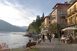 Varenna, Italy. View of the Lake Como waterfront at sunset.