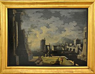 View of a Harbor with Ruins