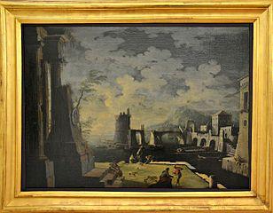 Vue d'un port avec ruines