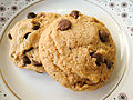 Vegan chocolate chip cookies on dish with floral designs.jpg