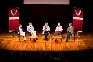 """Veritas Forum - MIT professors Alan Lightman, Troy Van Voorhis, Alex Byrne, and Daniel Hastings speak on """"Life, the Universe, and MIT"""" in a discussion moderated by Rosalind Picard."""