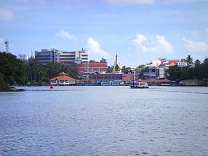 Geography of Kollam - View of Ashtamudi Lake and Kollam city