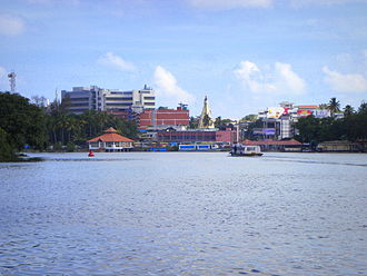 Ashtamudi Lake - View of Ashtamudi Lake and Downtown Kollam
