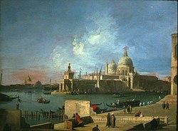 Canaletto: Vue de Santa Maria della Salute, depuis l'entrée du Grand Canal