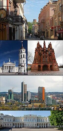 Överst: Vilnius gamla stan Mitten (vänster): Vilniuskatedralen Mitten (höger): St. Annas kyrka Tredje raden: Šnipiškės Nederst: Litauens presidentpalats