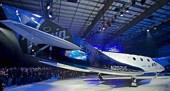 "Virgin Galactic SpaceShipTwo ""Unity"" rollout 19Feb2016, FAITH hangar, Mojave, California.jpg"