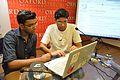 Vishnu Hurkat with Sukanta Pal - Editing Session - Wikilearnopedia - Oxford Bookstore - Kolkata 2015-08-23 3523.JPG