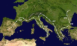 Visigoths - Migrations of the main column of the Visigoths