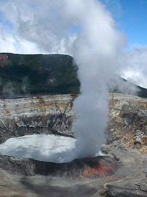 Poás Volcano - Column of smoke rising from the main crater