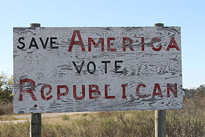 "Leon County, Texas - Faded ""Vote Republican"" sign off U.S. Highway 79 in Marquez in Leon County"