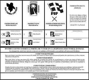 Aníbal Acevedo Vilá - Sample ballot for 2004 Gubernatorial Election, illustrating the Mixed Vote permissible under CEE Rule 50.