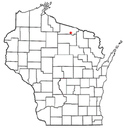 Location of Cloverland, Vilas County, Wisconsin