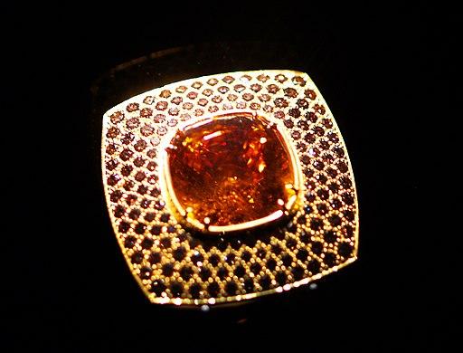 WLA hmns Garnet ring with cognac diamonds