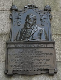Walter Besant plaque, Victoria Embankment, London (cropped).jpg