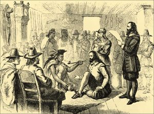 Massasoit - Massasoit smoking a ceremonial pipe with Governor John Carver in Plymouth 1621.