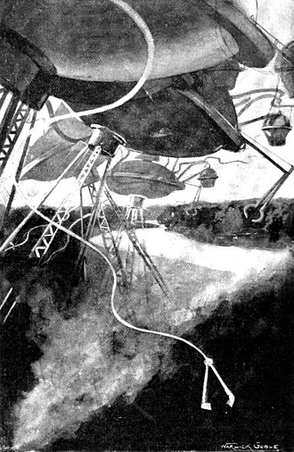 Fighting machine (The War of the Worlds) - Martian tripods drawn by Warwick Goble in 1897; personally criticized and disowned by H.G. Wells.
