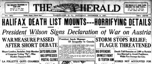 United States declaration of war on Austria-Hungary - The front page of the December 8, 1917 issue of the Washington Herald; news of the war declaration was overshadowed by the devastating Halifax Explosion, the third-largest non-nuclear explosion in history.