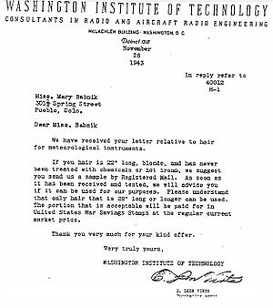 Mary Babnik Brown - Washington Institute of Technology letter 26 Nov 1943 inviting Brown to submit her hair for the government war effort