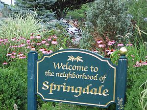 Springdale (Stamford) - Welcome sign at entrance to railroad station, Hope Street