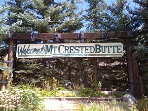 Mount Crested Butte, Colorado - Image: Welcome to Mt Crested Butte sign
