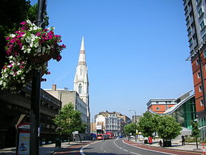 Westminster Bridge Road - Looking west along Westminster Bridge Road with the spire of Christ Church on the left and The Perspective Building designed by Assael Architecture on the right.
