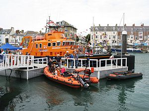 Weymouth Lifeboat Station - Phyl Clare III and the boarding boat, with Ernest and Mabel behind