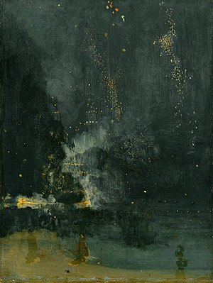 Tonalism - James McNeill Whistler, Nocturne in Black and Gold: The Falling Rocket,  c. 1875; Oil on panel; 60.3 x 46.4 cm
