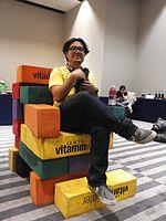 Wikimania 2015-Wednesday-Volunteers play Weasel-Jenga (42).jpg