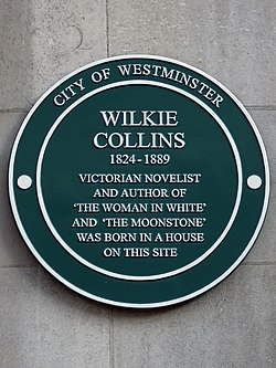 Photo of William Wilkie Collins green plaque