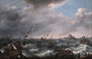 Shipwrecked on a stormy Sea.